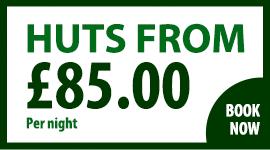 Huts from £85 per night